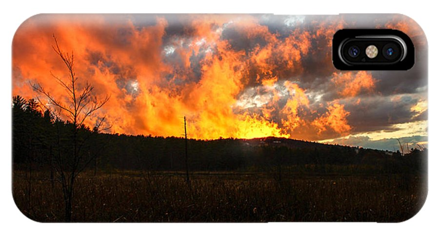 Landscape IPhone X Case featuring the photograph Blazing Sky by Michael Donovan