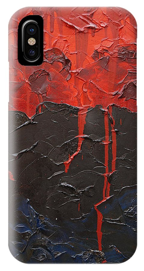 Fantasy IPhone X / XS Case featuring the painting Bleeding Sky by Sergey Bezhinets