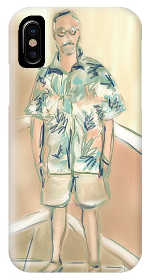 Man IPhone X Case featuring the painting Blended Man by Jean Pacheco Ravinski
