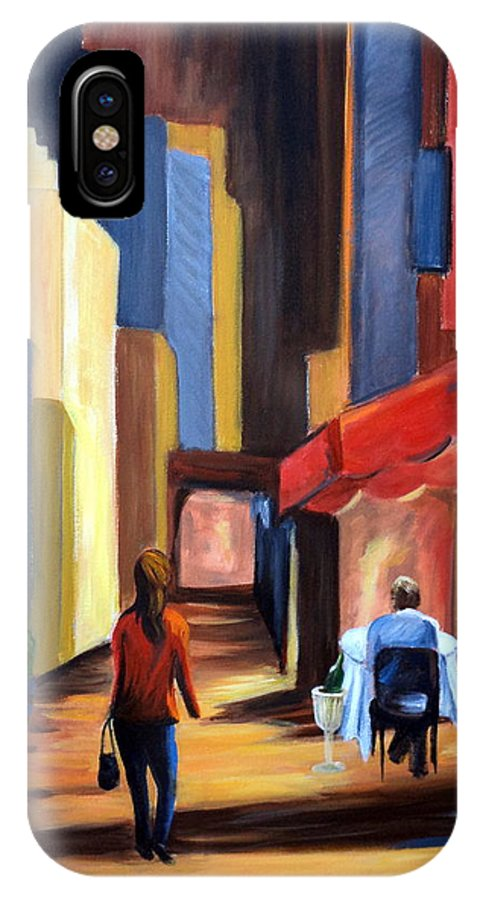 City View IPhone X / XS Case featuring the painting Blind Date by Rosie Sherman
