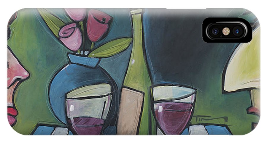 Wine IPhone X Case featuring the painting Blind Date With Wine by Tim Nyberg