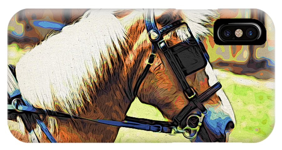 Horse In Blinders IPhone X Case featuring the photograph Blinders by Alice Gipson
