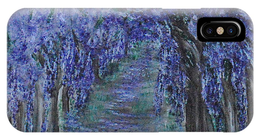 Purple IPhone X Case featuring the painting Blissful Walk Through Purple by Suzanne Surber