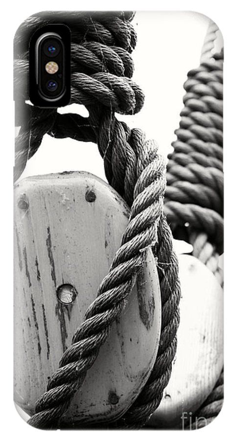 Black And White IPhone X Case featuring the photograph Block And Tackle Of Old Sailing Ship by Jan Brons
