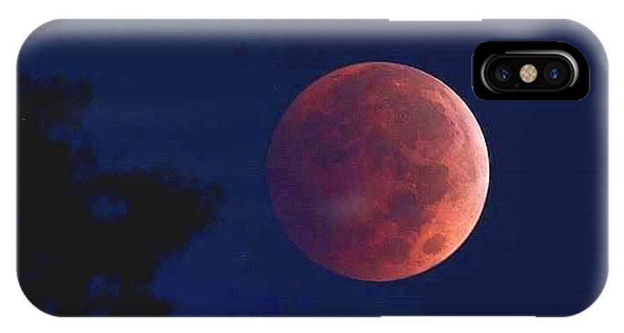 Blood IPhone X Case featuring the photograph Blood Red Moon by Kevin Schaack