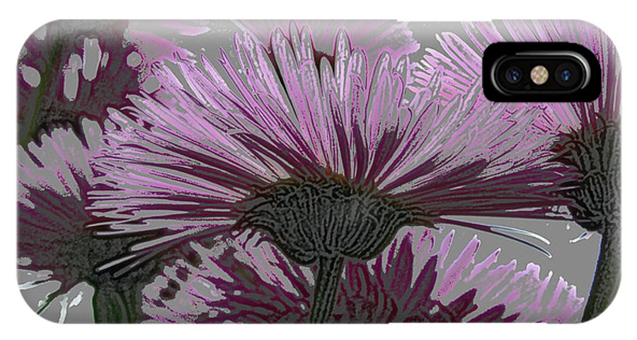 Flower IPhone X Case featuring the photograph Bloom Pink Daisies Enhanced by Debra Schwab