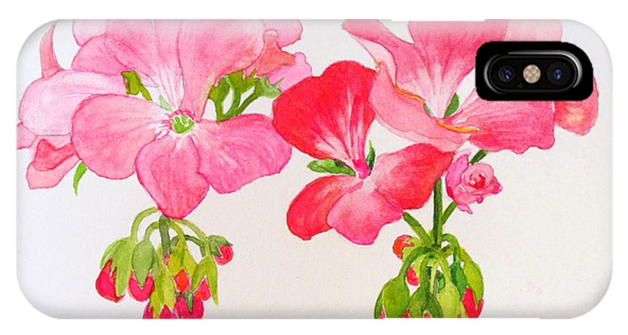 Blooms IPhone X Case featuring the painting Blooming 1 by Mary Ellen Mueller Legault