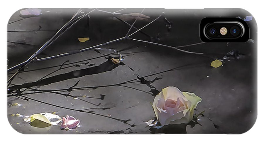 Rose Petal; Pond; Shadows IPhone X Case featuring the photograph Blossom Rain 17 by Georg Kickinger