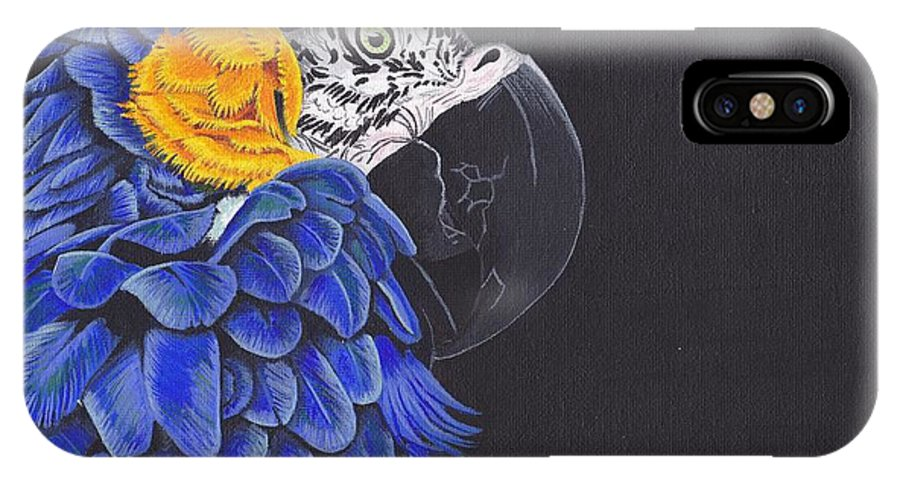 Birds IPhone X Case featuring the painting Blu And Gold Macaw by Emily Bemelmans