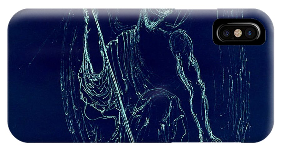 #giorgiotuscani #fineart #fineartamerica #angel #blue #art #artcollectors #artgalleries #museum #modernart #contemporary #soulofmyart #wings #spiritual #love #illuminata #nude #male #figure #giorgio #selfie #portraiture #religious #bible #halo #thevirginmary #madonna #virginmary #williamshatner #church #prints #iphonecases #framedart #acrylicart #metalart #canvas #giclees IPhone X Case featuring the drawing Blue Angel Series by Giorgio Tuscani