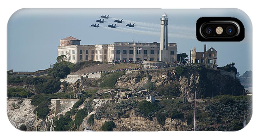 Navy IPhone X Case featuring the photograph Blue Angels Over Alcatraz by Mountain Dreams