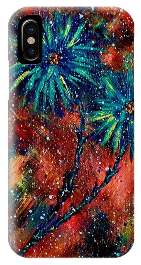 Flowers IPhone X Case featuring the painting Blue Asters by Robin Monroe