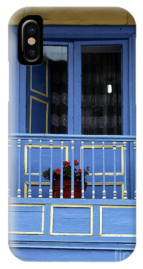Blue Balcony In Sopo IPhone X Case featuring the photograph Blue Balcony In Sopo by John Rizzuto