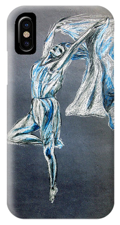 Ballet IPhone X Case featuring the drawing Blue Ballerina dance art by Tom Conway