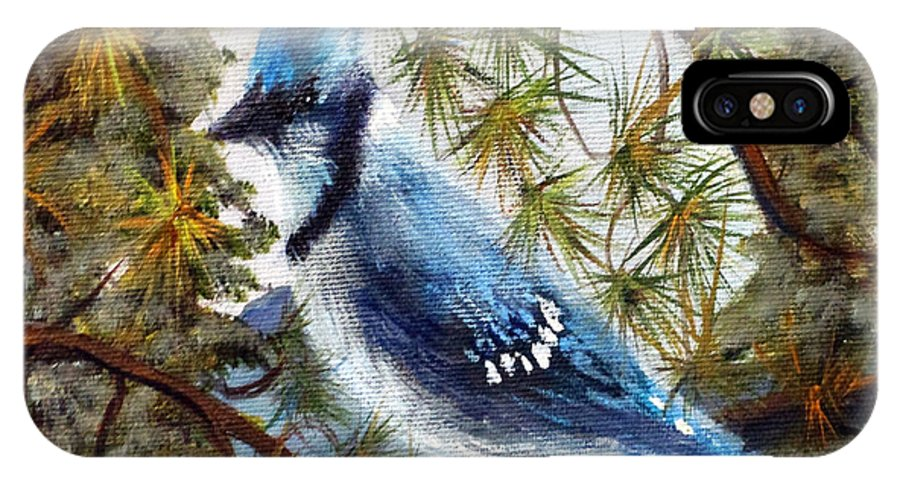 Wildlife IPhone X Case featuring the painting Blue Bandit by Marlene Johnson