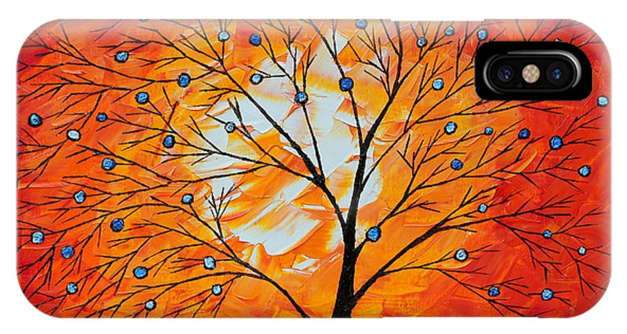 Tree IPhone X Case featuring the painting Blue Berry Tree by Cevin Cox