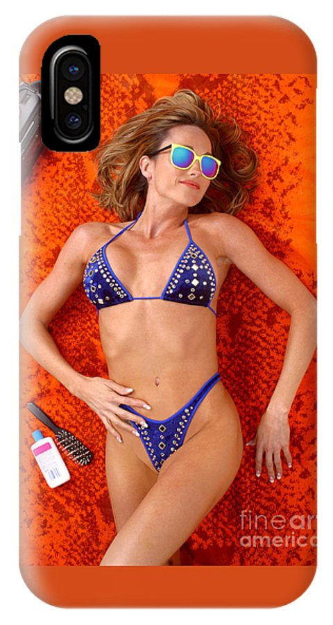 Model IPhone X Case featuring the photograph Blue Bikini 16-2p by Gary Gingrich Galleries