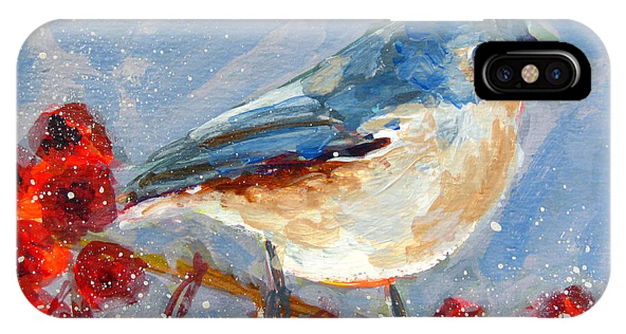 Blue Bird IPhone X / XS Case featuring the painting Blue Bird In Winter - Tuft Titmouse Modern Impressionist Art by Patricia Awapara