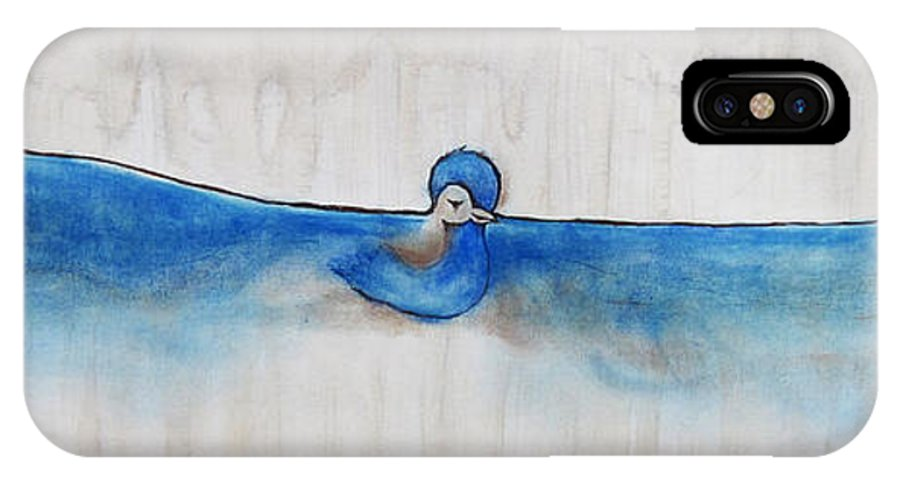Blue Bird IPhone X Case featuring the painting Blue Bird Of Happiness by Carrie Jackson