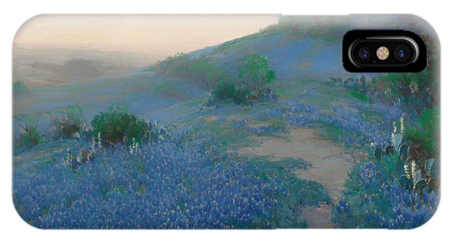 San Antonio IPhone X Case featuring the painting Blue Bonnet Field In San Antonio by Mountain Dreams
