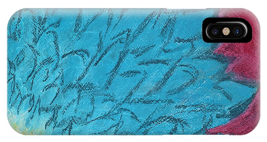 Blue IPhone X Case featuring the painting Blue Daisy by Dana Strotheide