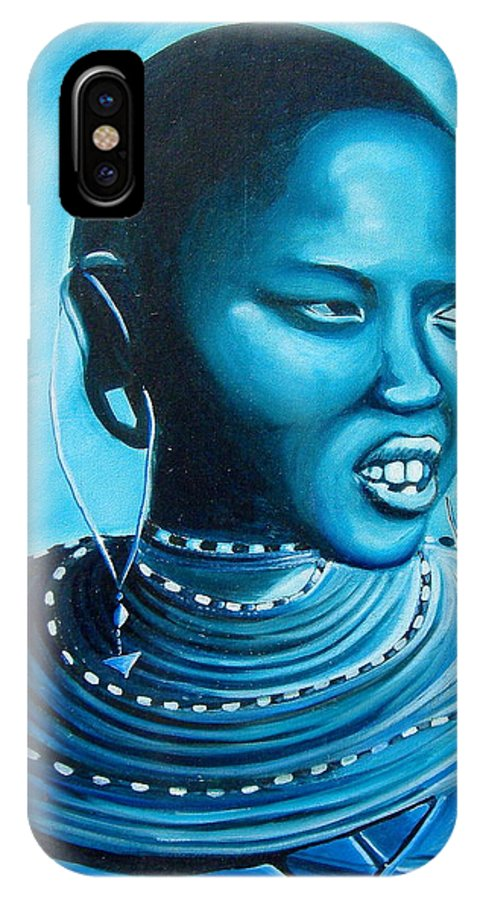 African Art IPhone X / XS Case featuring the painting Blue Day by Maryann Muthoni