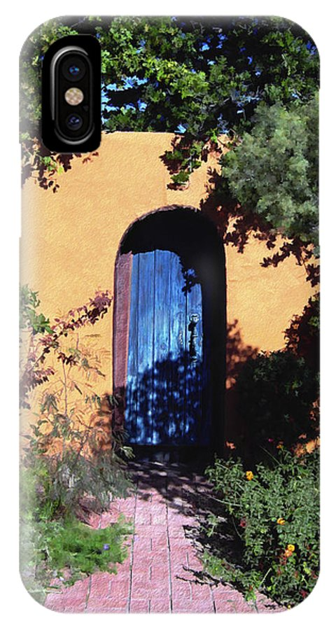 Blue Door IPhone X Case featuring the photograph Blue Door At Old Mesilla by Kurt Van Wagner