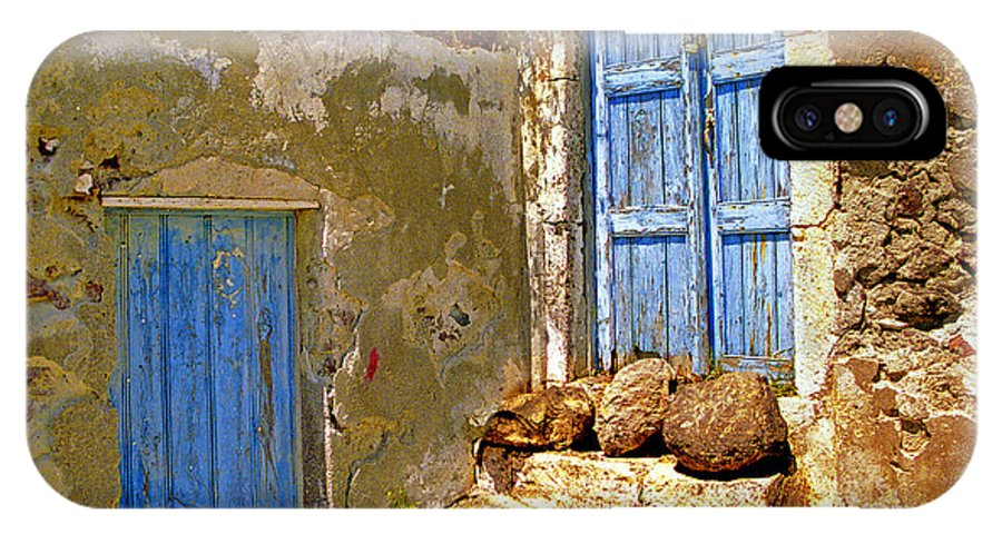 Greece IPhone X Case featuring the photograph Blue Doors Of Santorini by Madeline Ellis