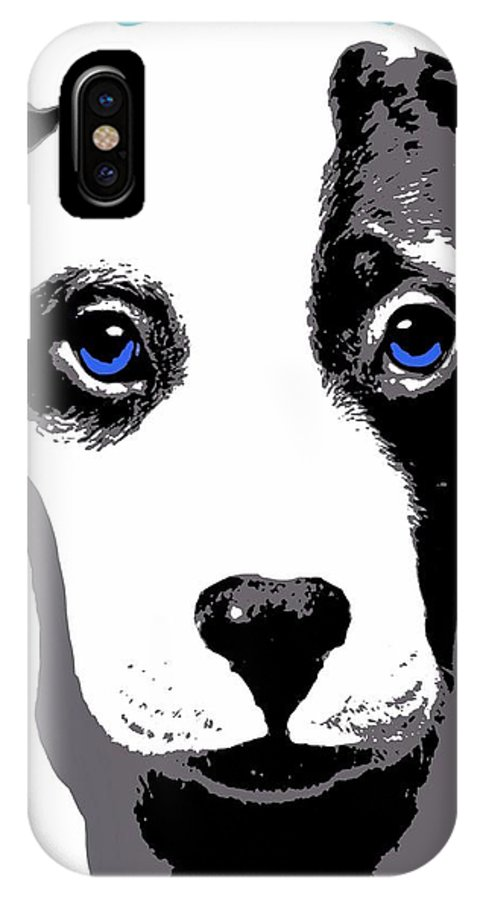 Nd IPhone X Case featuring the digital art Blue Eyed Bully by Cindy Edwards