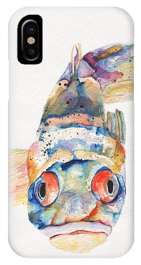 Pat Saunders-white IPhone X Case featuring the painting Blue Fish  by Pat Saunders-White