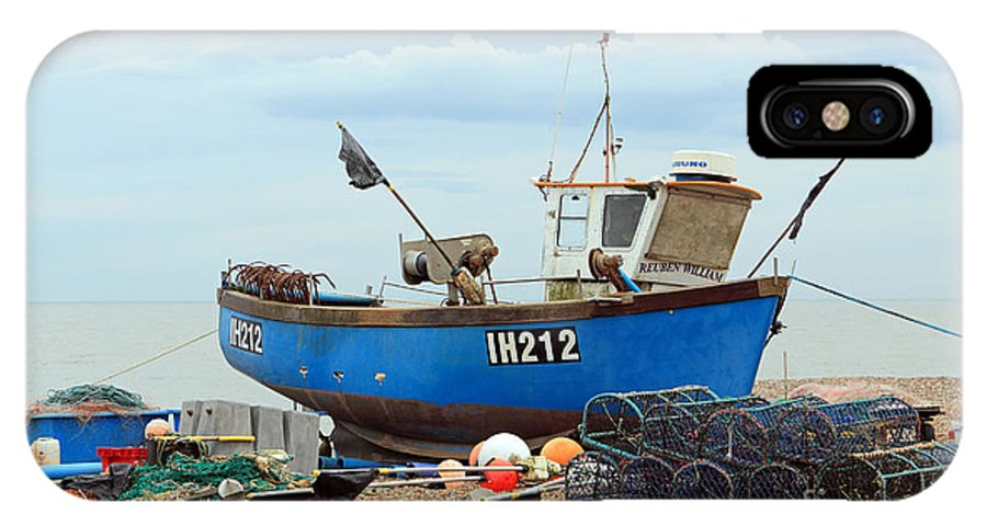 Blue Fishing Boat IPhone X Case featuring the photograph Blue Fishing Boat by Julia Gavin