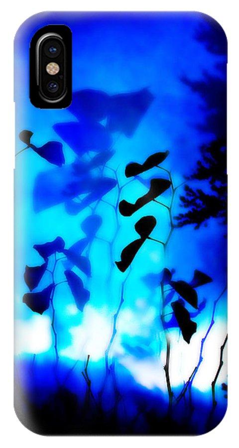 Trees IPhone X Case featuring the digital art Blue Flower by Abby Kirsch