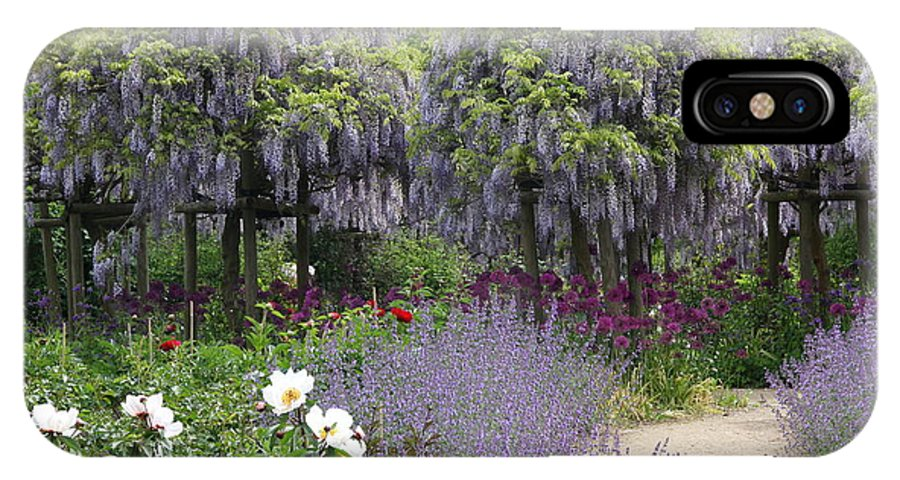 Flowers IPhone X Case featuring the photograph Blue Flowergarden With Wisteria by Christiane Schulze Art And Photography