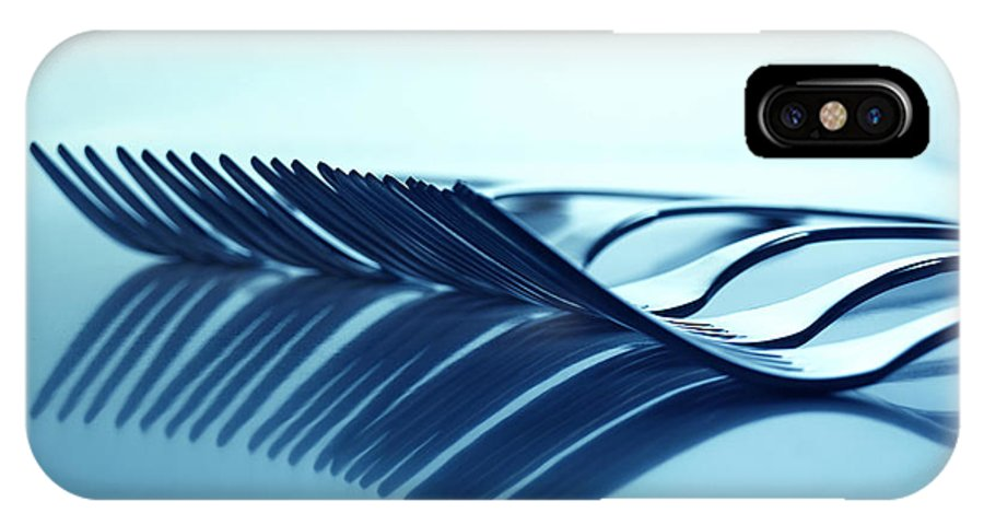 Forks IPhone X / XS Case featuring the photograph Blue Forks by Andreas Berheide