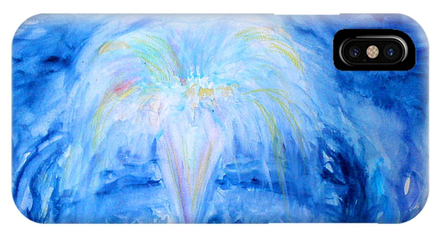 Water IPhone X Case featuring the painting Blue Fountain by Anne Cameron Cutri