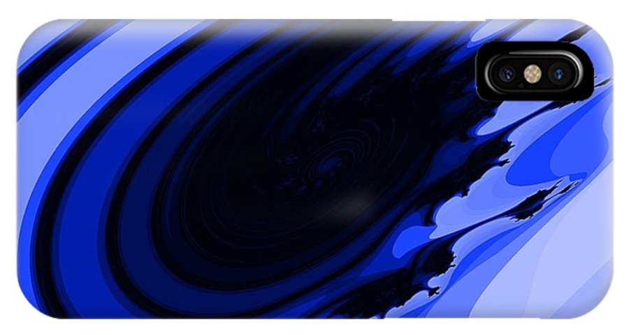 Blue IPhone X Case featuring the digital art Blue Fractal by Jamie Frier