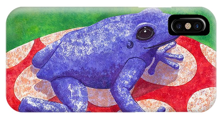 Frog IPhone X Case featuring the painting Blue Frog by Catherine G McElroy