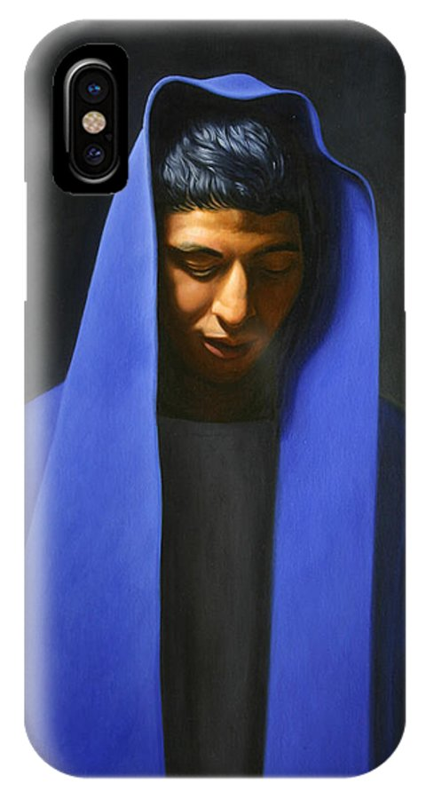 Blue IPhone X Case featuring the painting Blue by Gary Hernandez