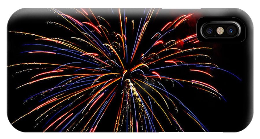 Abstract IPhone X / XS Case featuring the photograph Blue Gold Pink And More - Fireworks And Moon by Penny Lisowski