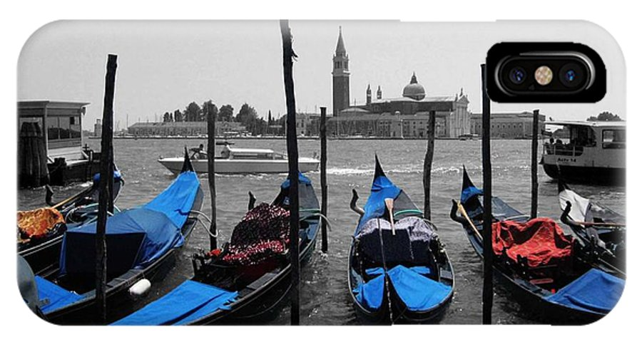 Venice Paintings IPhone X Case featuring the photograph Blue Gondola's by Sandy MacNeil
