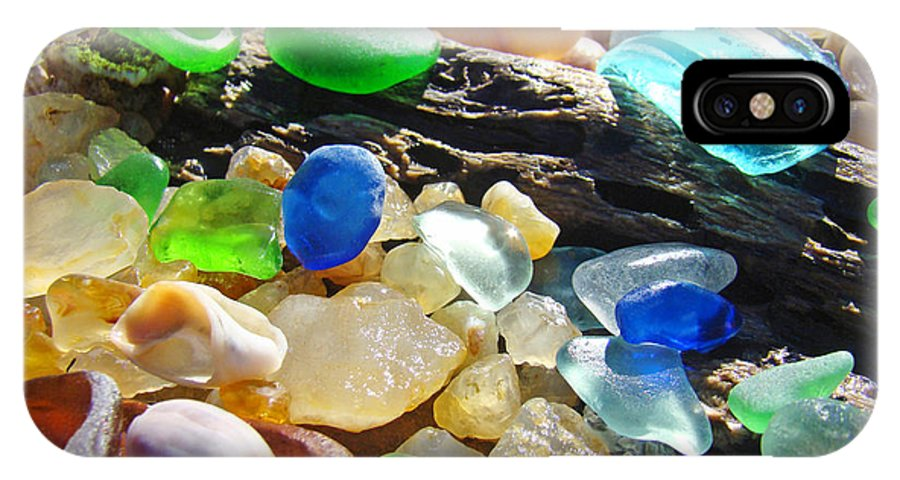 Seaglass IPhone X Case featuring the photograph Blue Green Seaglass art prinst Agates Shells by Patti Baslee