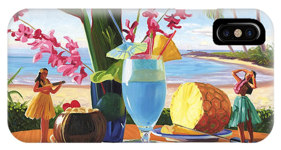 Blue Hawaiian IPhone X Case featuring the painting Blue Hawaiian by Steve Simon