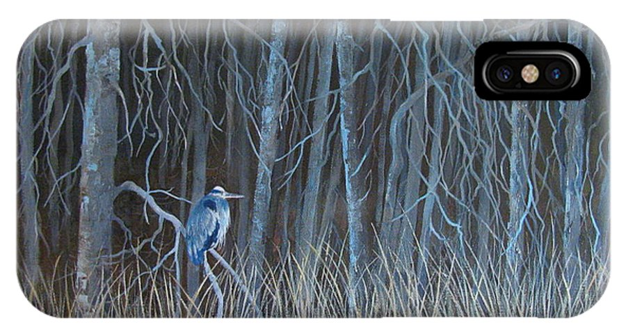 Landscape IPhone X Case featuring the painting Blue Heron by Pat Thomson