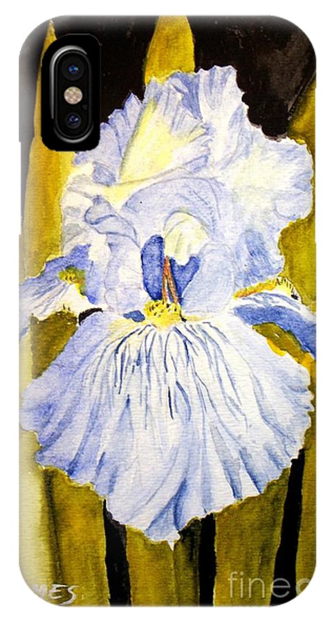 Iris IPhone X Case featuring the painting Blue Iris by Carol Grimes