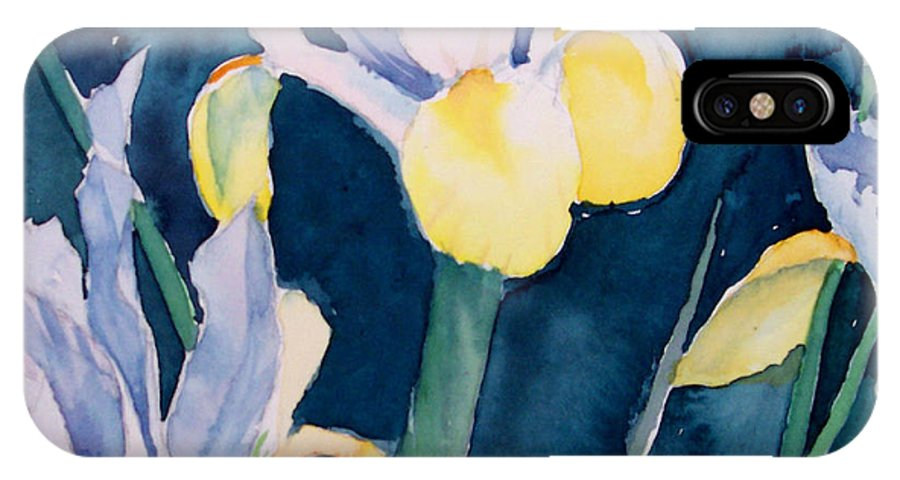 Flowers IPhone X Case featuring the painting Blue Iris by Philip Fleischer
