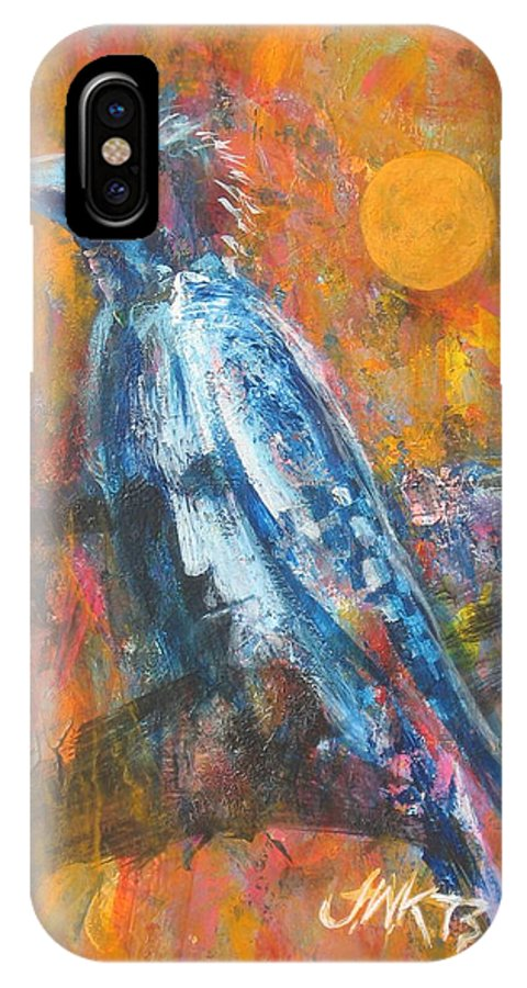 Bird Abstract With Face IPhone X Case featuring the painting Blue Jay by J W Kelly