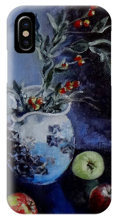 Mini Paintings IPhone X Case featuring the painting Blue Jug And Apples by Jennifer Calhoun