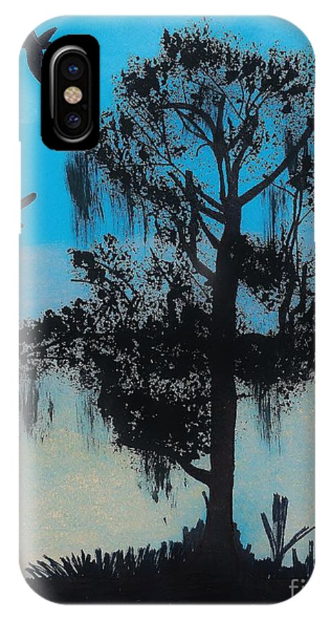 Sunset IPhone X Case featuring the drawing Blue Kite Sunset by D Hackett