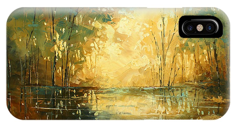 Palette Knife IPhone X Case featuring the painting 'Blue Lagoon 2' by Michael Lang
