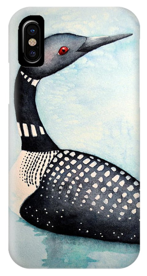 Loon IPhone X Case featuring the painting Blue Loon by Sarah Rosedahl